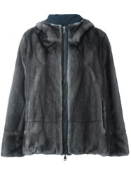 Brunello Cucinelli Zipped Fur Jacket Grey