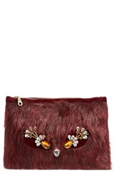 Shiraleah 'Duff' Faux Fur Zip Top Pouch Wine
