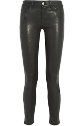 Frame Le Skinny Stretch Leather Pants Black