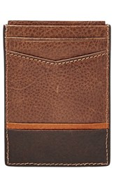 Fossil Men's 'Ian' Leather Magnetic Money Clip Card Case Brown