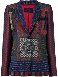 Etro Multi Print Fitted Jacket Red