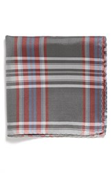 Men's Original Penguin 'Baltic Plaid' Silk Pocket Square Grey Charcoal Red