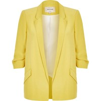 River Island Womens Yellow Ruched Sleeve Blazer