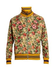 Gucci Floral Print Scuba Jersey Bomber Jacket Multi