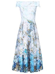 Jolie Moi Floral Print Bardot Midi Dress Blue