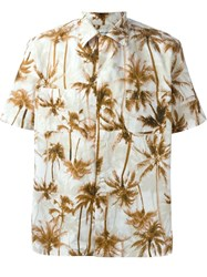 Saint Laurent Palm Tree Print Shirt Nude And Neutrals