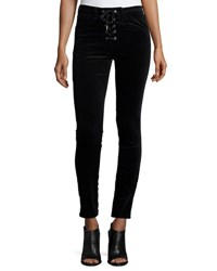 Rag And Bone Velvet Lace Up High Rise Skinny Pants Black
