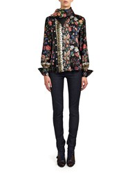 Alexis Mabille Shirt In Folk Printed Silk With Scarf Collar Blue
