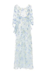 Luisa Beccaria Tulle Embroidered Flowers Maxi Dress Blue