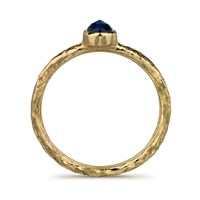Frillybylily Hammered Gold And Black Sapphire Ring Ancient Awe