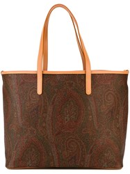 Etro Paisley Print Tote Bag Brown