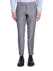Thom Browne Low Rise Wool And Mohair Trousers Light Grey