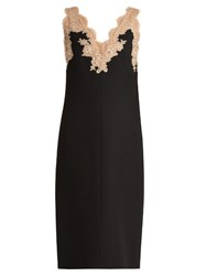Valentino V Neck Lace Trimmed Midi Dress Black Nude