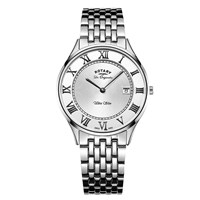 Rotary Gb90800 01 Men's Les Originales Ultra Slim Date Bracelet Strap Watch Silver