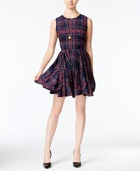 Maison Jules Floral Plaid Fit And Flare Dress Only At Macy's Blu Notte Combo