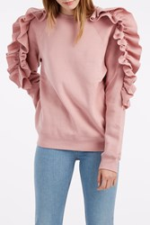 Msgm Women S Ruffled Sleeve Jumper Boutique1 Pink