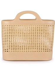Chanel Vintage Woven Tote Nude And Neutrals