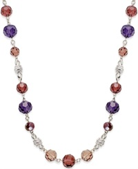 Charter Club Silver Tone Purple Bead Necklace