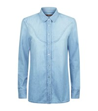 7 For All Mankind Rodeo Denim Shirt Female Blue
