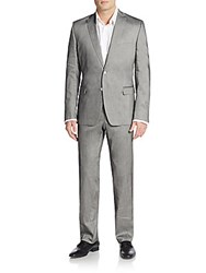 Versace Regular Fit Two Button Suit Steel