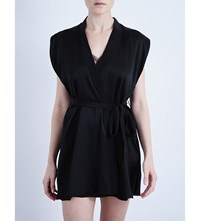 Kiki De Montparnasse Sleeveless Silk Robe Black Black