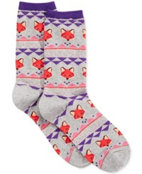 Hot Sox Women's Fox Fairisle Socks Sweatshirt Grey Heather