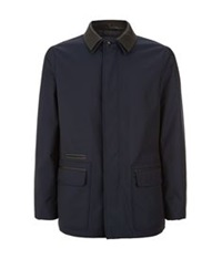 Pal Zileri Leather Detail Outdoor Jacket Navy