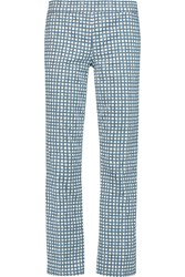 Tory Burch Cropped Printed Mid Rise Straight Leg Jeans Blue
