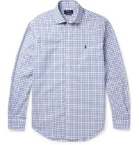 Polo Ralph Lauren Cutaway Collar Checked Cotton Shirt Blue