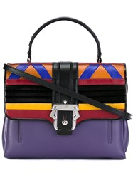 Paula Cademartori Geometric Motif Satchel Pink And Purple