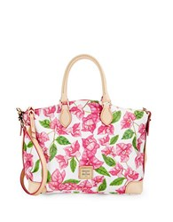 Dooney And Bourke Bougainvillea Coated Cotton Satchel White Floral