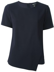 Dkny Cross Over Front T Shirt Blue