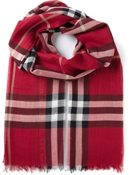 Burberry 'House' Check Scarf Red