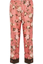 F.R.S For Restless Sleepers Zeus Floral Print Silk Twill Straight Leg Pants Pink