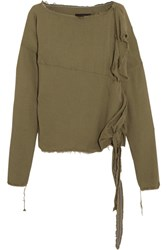 Vivienne Westwood Anglomania Balloon Frayed Crepe Blouse Army Green