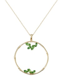 Sis By Simone I Smith 18K Gold Over Sterling Silver Necklace Green Crystal Pendant 3 8 Ct. T.W.