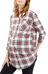 Women's Topshop 'Billie' Check Button Front Maternity Shirt