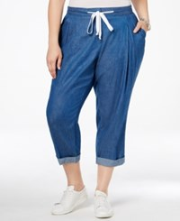 Stoosh Plus Size Chambray Cropped Jogger Pants