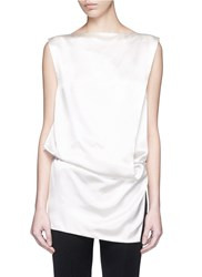 Ms Min Asymmetric Drape Silk Top White