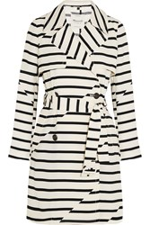 Madewell Parcel Striped Crepe Trench Coat Off White Black