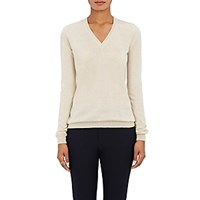 Barneys New York Women's Cashmere V Neck Sweater Tan