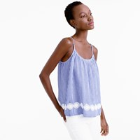 J.Crew Embroidered Swing Cami In Stripe