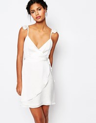 Wyldr Wrap Front Tea Dress With Frills White