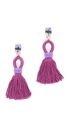 Oscar De La Renta Short Silk Tassel Clip On Earrings Hyacinth