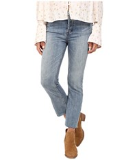 Free People Far From Any Road Cropped Jeans In Denim Blue Denim Blue Women's Jeans