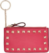 Valentino Pink Leather Rockstud Pouch Keychain