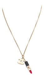 Wgaca Chanel Lipstick Necklace Previously Owned Gold