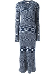 See By Chloe See By Chloe Zig Zag Effect Knit Dress Blue