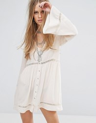 Kiss The Sky Button Front Tea Dress With Ladder Inserts Cream