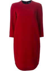 Jil Sander Navy Three Quarter Sleeve Dress Red